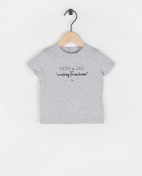 Twinning baby T-shirt met opschrift - in grijs - Familystories