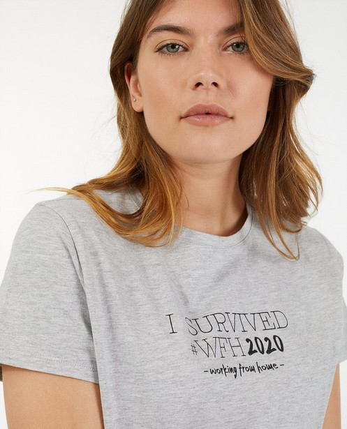 Twinning dames T-shirts met opschrift - #familystoriesjbc - Familystories