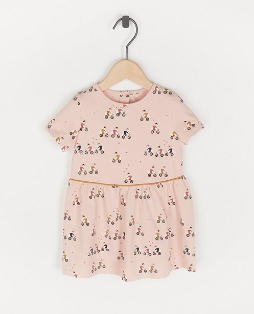 Biokatoenen jurkje met print - in roze - Cuddles and Smiles