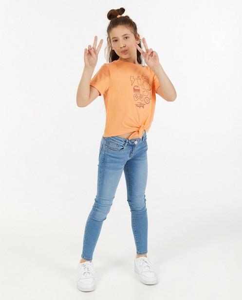 T-shirt orange avec imprimé Dylan Haegens - avec détail noué - Dylan Haegens