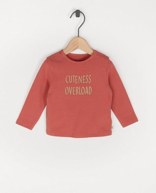 T-shirt à manches longues en coton bio avec une inscription - avec du stretch - Cuddles and Smiles