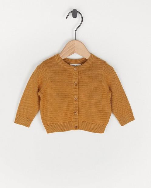 Cardigan en coton bio camel - à motif tricoté - Cuddles and Smiles
