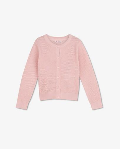Roze cardigan met patroon BESTies