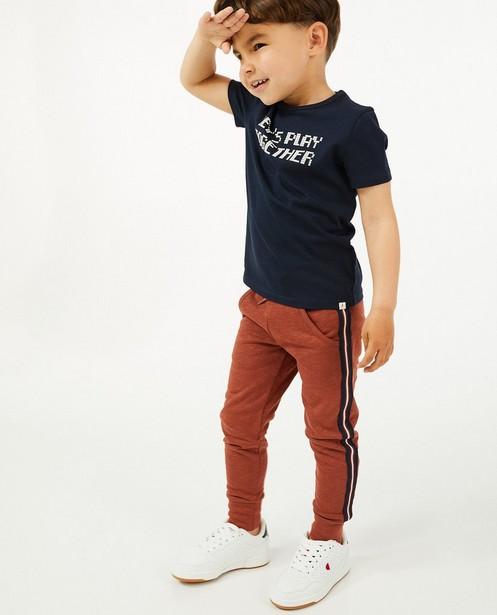 Jogger brun rouge en coton bio - avec rayure - Kidz Nation