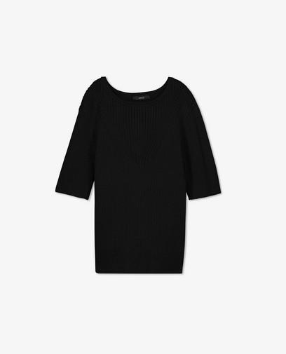 T-shirt noir en tricot Sora