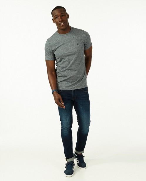 T-shirt bleu foncé en coton bio - rayé - Quarterback