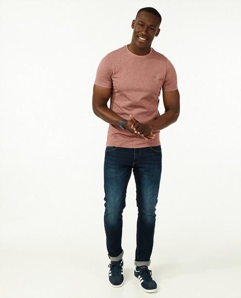 Katoenen T-shirt in rood - gestreept - Quarterback