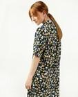 Zwarte jurk met bloemenprint Sora - met korte mouwen - Sora