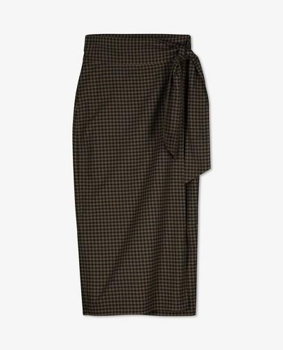 Jupe portefeuille à carreaux noirs et verts Sora