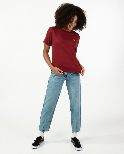 T-shirt rouge à broderie blanche Vans - avec du stretch - Vans