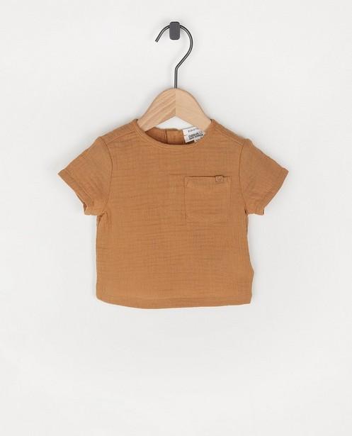 Lichtbruin T-shirtje van tetrastof - van biokatoen - Newborn