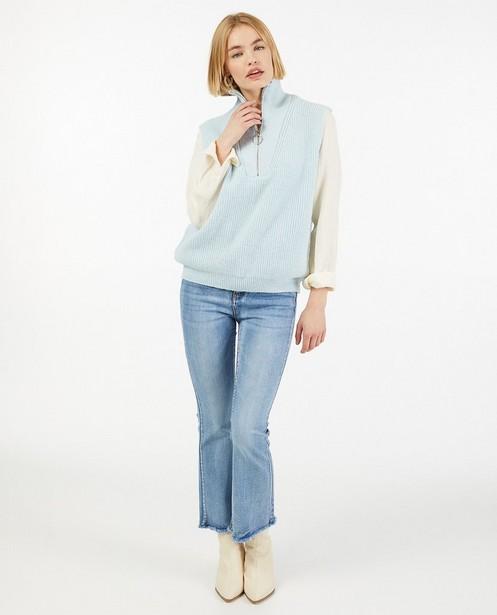 Débardeur bleu clair avec fermeture à glissière - fin tricot - Paris