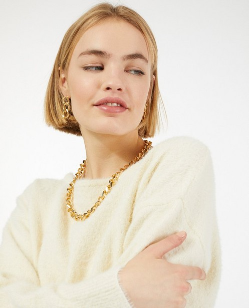 Truien - Offwhite trui met kant