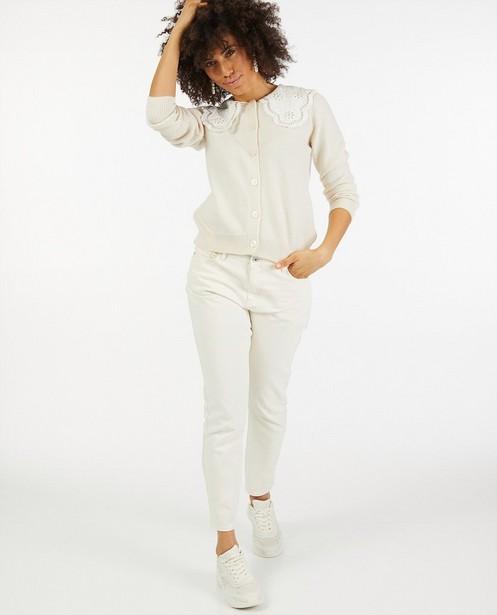 Cardigan écru avec de la dentelle - fin tricot - Paris