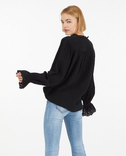 Hemden - Zwart hemd van tetrastof