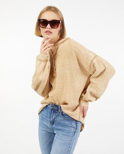 Bruine blouse van tetrastof