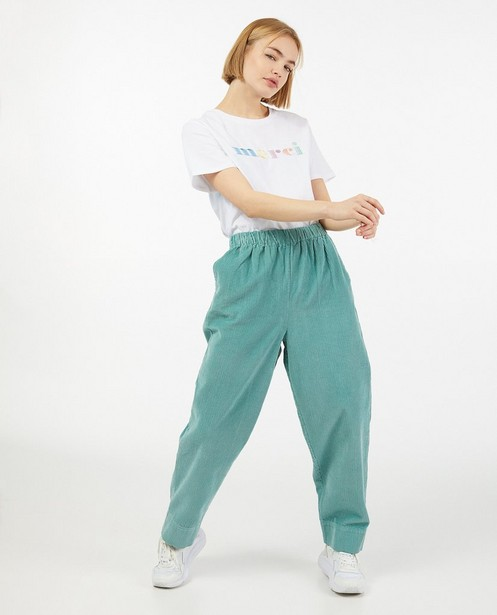 Pantalon vert en velours côtelé - imprimé intégral - Paris