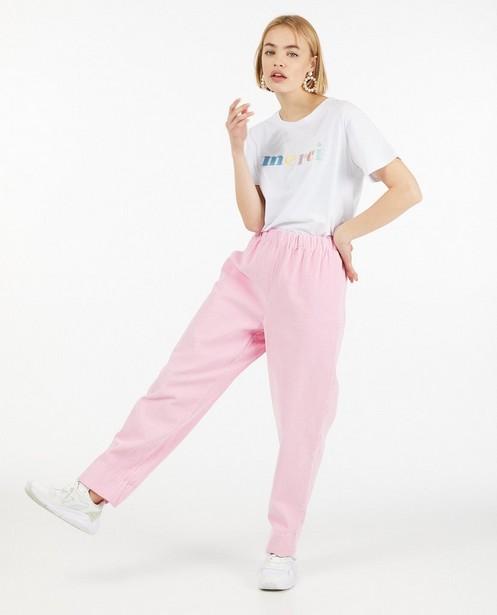Pantalon rose en velours côtelé - imprimé intégral - Paris