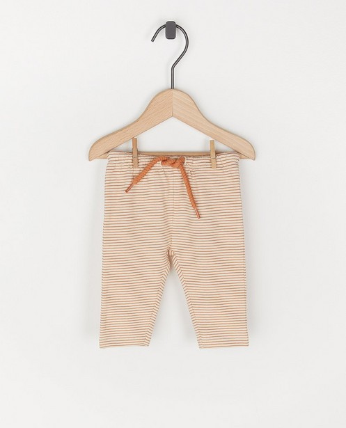 Biokatoenen unisex broekje - wit en oranje - Newborn
