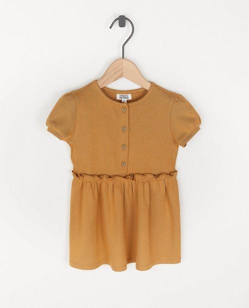 Beige jurk van ribstof - viscosemix - Cuddles and Smiles