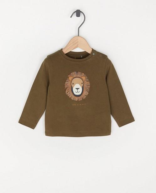 T-shirt unisexe à manches longues en coton bio - avec un lion - Cuddles and Smiles