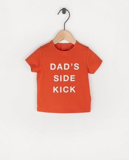 Oranje T-shirt met opschrift BESTies - stretch - Besties