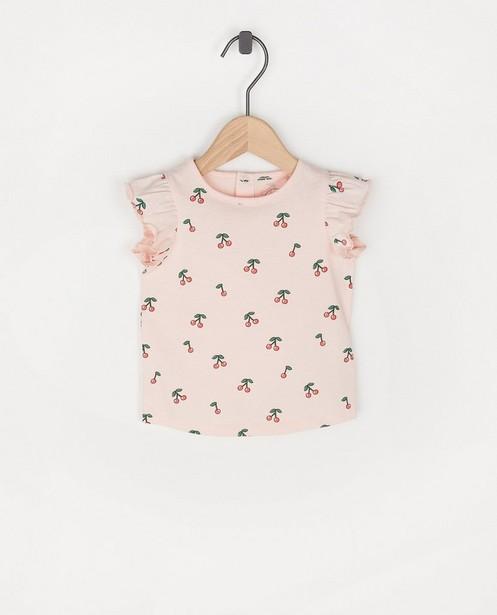 Roze T-shirtje met print BESTies - allover - Besties