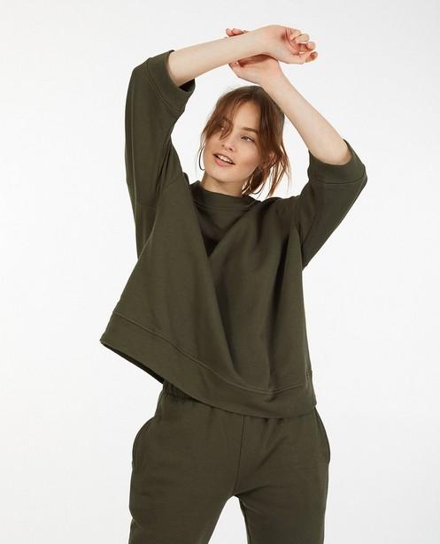 Kakigroene sweater Ella Italia - met wijde fit - Ella Italia