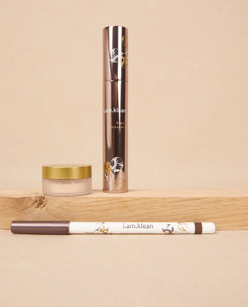 Make-up box ogen bruin i.am.klean - 14,5 cm x 20 cm Mascara Brown Eye pencil Brown Eye shadow Gold dust - I.am.klean