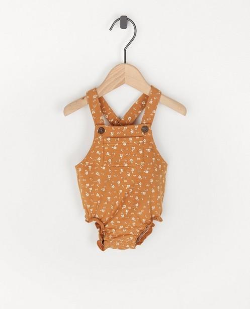 Biokatoenen jumpsuit met print - in bruin - Newborn