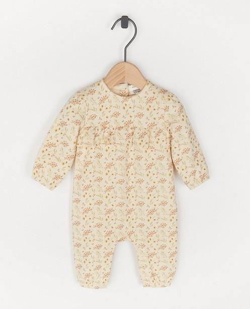 Biokatoenen jumpsuit met print - in crème - Newborn