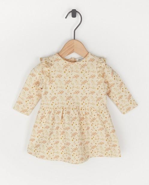 Biokatoenen jurk met bloemenprint - in crème - Newborn