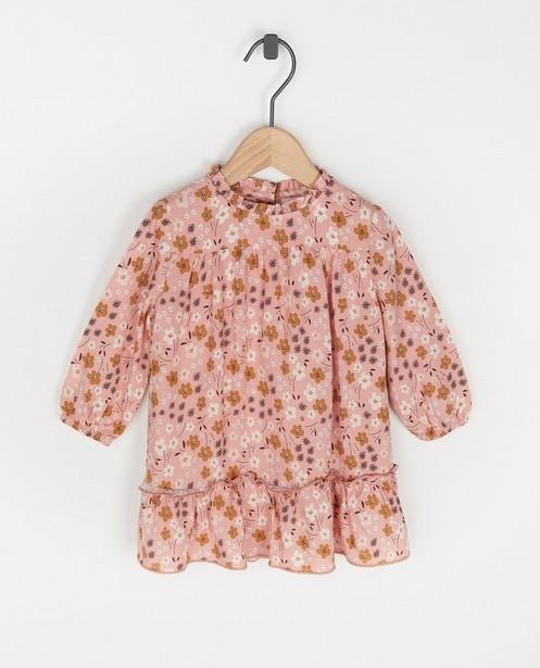 Roze jurk met bloemenprint Feest - premium - Cuddles and Smiles