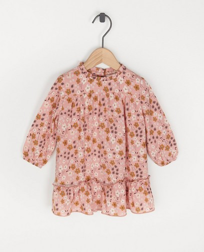 Roze jurk met bloemenprint Feest