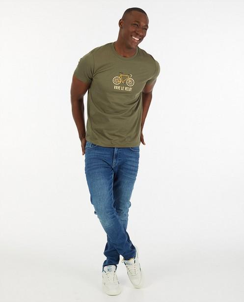 Kaki T-shirt met print Vive le vélo - van biokatoen - Vive le vélo