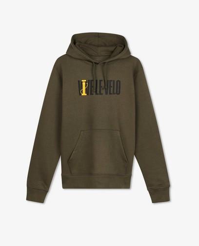 Kaki hoodie met print Vive le vélo