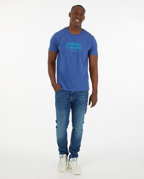 Blauw T-shirt met print Vive le vélo - van biokatoen - Kom op tegen Kanker