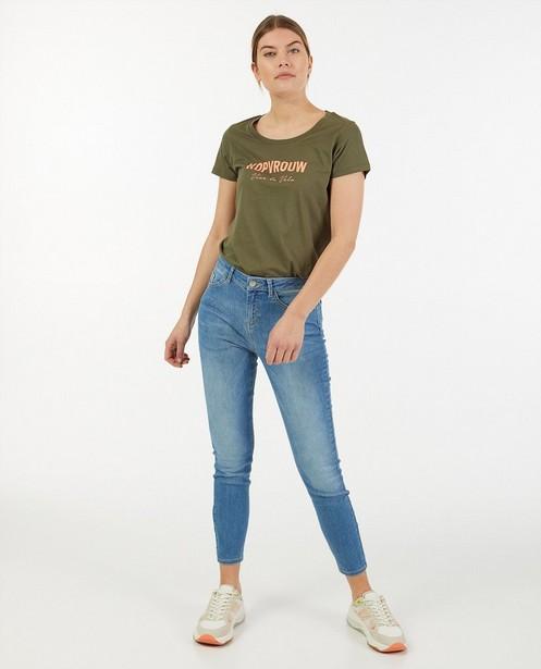 T-shirt kaki à imprimé Vive le vélo - en coton bio - Vive le vélo
