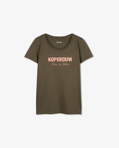 Kaki T-shirt met print Vive le vélo