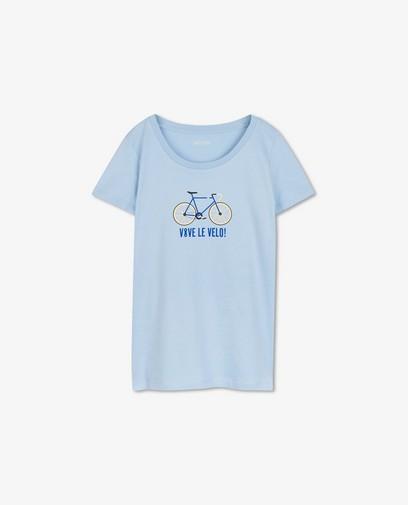 Blauw T-shirt met print Vive le vélo