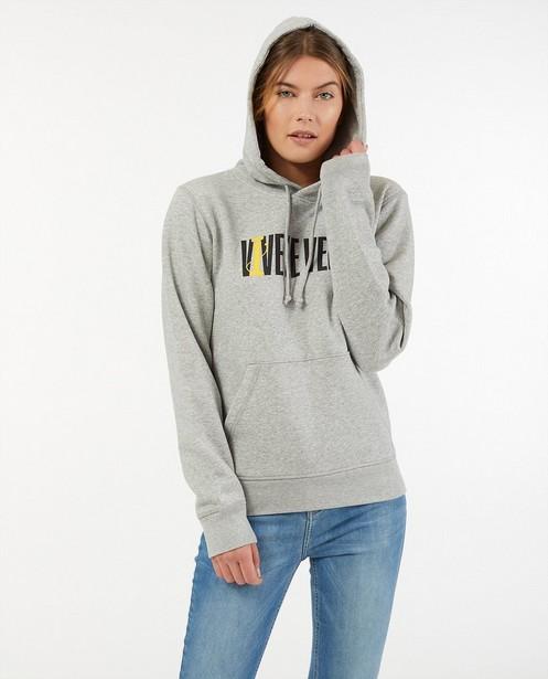 Grijze hoodie met print Vive le vélo - van biokatoen - Vive le vélo