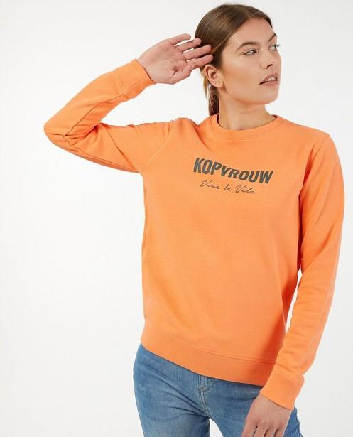 Oranje kopvrouw sweater Vive le vélo - van biokatoen - Vive le vélo