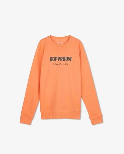 Oranje kopvrouw sweater Vive le vélo