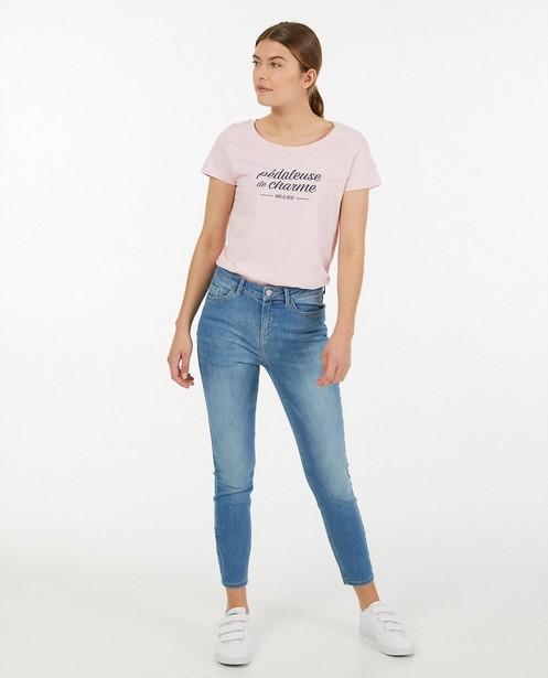 Roze T-shirt met print Vive le vélo - tvv Kom op tegen Kanker - Kom op tegen Kanker