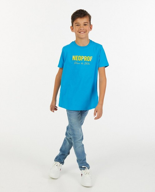 Blauw Neoprof T-shirt Vive le vélo - van biokatoen - Vive le vélo
