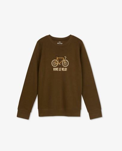Sweat kaki à imprimé Vive le vélo