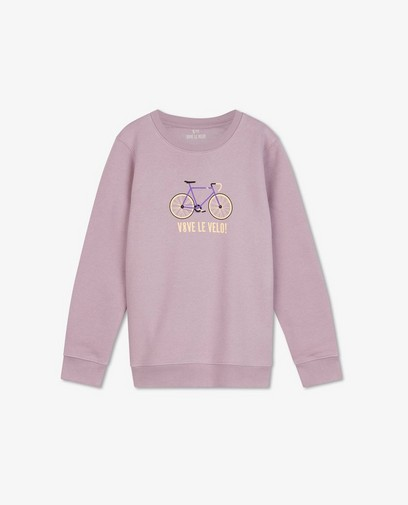 Sweat lilas à imprimé Vive le vélo