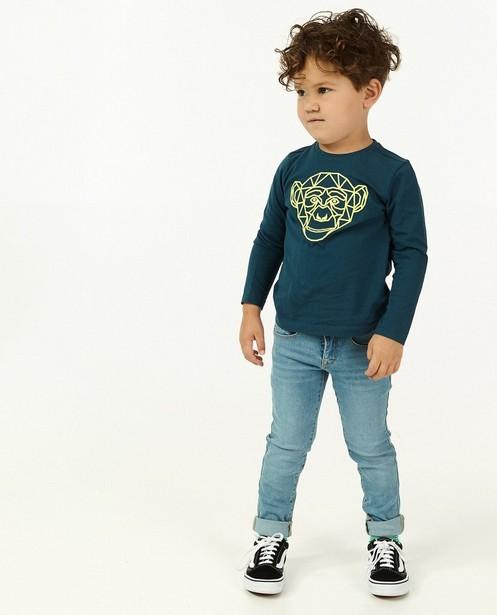 T-shirt à manches longues avec imprimé caoutchouté BESTies - bleu - Besties