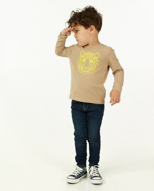 T-shirt à manches longues avec imprimé caoutchouté BESTies - beige - Besties