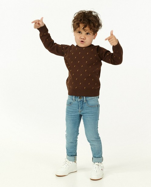 Pull brun foncé à imprimé BESTies - en fin tricot - Besties